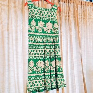 Embroidered Green & White NY&CO Dress US L